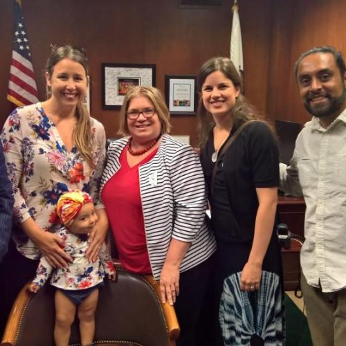 We're in this together! L-R congressional staffer, Tanya R. and little S., Jenya Cassidy (California Work & Family Coalition), Katie Waters-Smith (BreastfeedLA), Tony Reyes