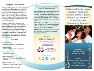 California Family Leave Laws: A Training for Parents, Home Visitors, Health Care Workers, Child Care and Community Leaders @  National Council of Jewish Women, Los Angeles.