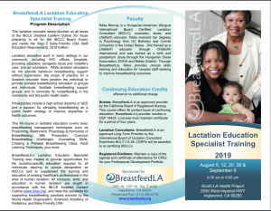 Lactation Education Specialist Training 2019: August 5, 12, 20, 26, and September 9 @ South LA Health Projects